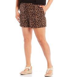 MICHAEL Michael Kors Plus Size Animal Print Classic Stretch Twill Shorts