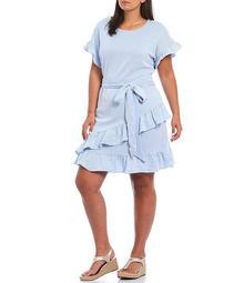 MICHAEL Michael Kors Plus Size Bicolor Pinstripe Verticle Rib Jacquard Ruffled Faux-Wrap Dress
