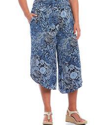 MICHAEL Michael Kors Plus Size Arabesque Paisley Print Lux Matte Jersey Pull-On Asymmetrical Hem Crop Pants