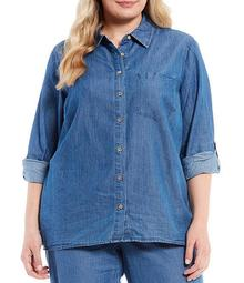 MICHAEL Michael Kors Plus Size Cotton Lyocell Roll-Tab Sleeve Button Down Oversize Shirt