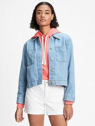 Cropped Denim Utility Jacket
