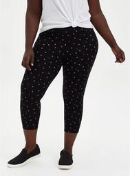 Crop Premium Legging - Strawberry Print Black