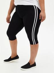 Pedal Pusher Premium Legging - Side Stripe Black