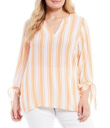 MICHAEL Michael Kors Plus Size Deck Stripe Crinkle Woven Split V-Neck Tie Sleeve Top