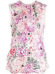 floral print sleeveless blouse