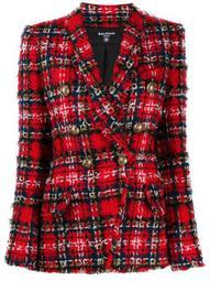 tartan tweed double-breasted blazer