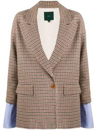 double-breasted layered check blazer