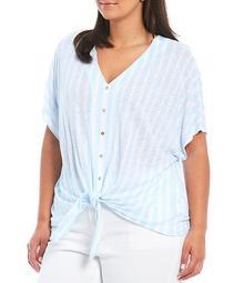 MICHAEL Michael Kors Plus Size Chic Umbrella Stripe Print Linen-Blend V-Neck Elbow Sleeve Button Tie Front Top