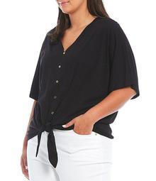 MICHAEL Michael Kors Plus Size Knit Jersey V-Neck Short Sleeve Button Tie Front Top