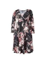 **DP Curve Black Floral Wrap Midi Dress