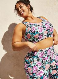 Pink & Purple Floral Wicking Active Sports Bra