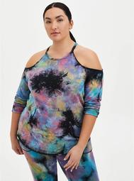 Tie-Dye Terry Active Cold Shoulder Sweatshirt