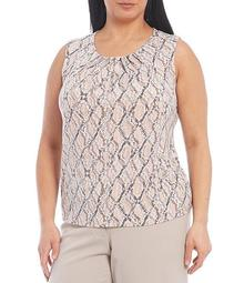 Plus Size Snake Skin Print Matte Jersey Pleat Neck Sleeveless Top