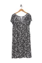 Jersey V-Neck Tiered Dress