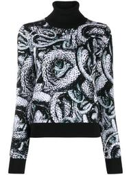 graphic print high neck jumper