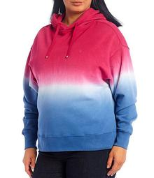 Plus Size Dip-Dyed French Terry Hoodie