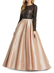 Beaded Lace & Satin Ball Gown