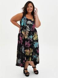 Tie-Dye Skull Super Soft Hi-Low Maxi Dress