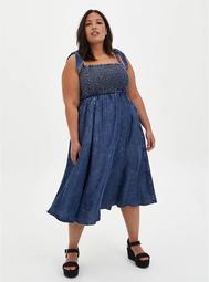 Chambray Dip Dye Smocked Midi Dress