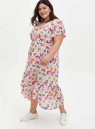 Ivory Floral Gauze Button Front Tea-Length Dress