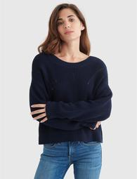 CROPPED RIB-KNIT PULLOVER REVERSIBLE SWEATER