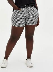 Belted Mid Short - Black & White Gingham Sateen