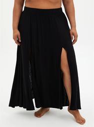 Black Jersey Side Slit Skirt Swim Cover-Up