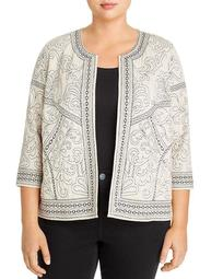 Embroidered Open-Front Jacket