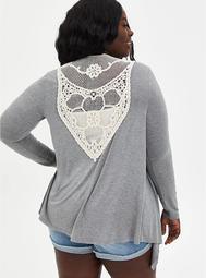 Super Soft Crochet Grey Cardigan Sweater
