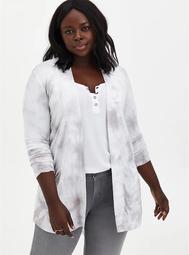 Grey Tie-Dye Super Soft Cardigan Sweater
