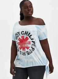 Off-Shoulder Tee - Red Hot Chili Peppers White Tie-Dye