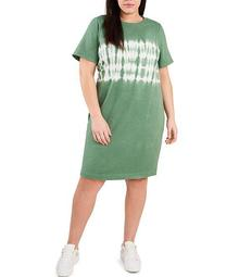 Plus Size Short Sleeve Tie Dye Stripe Print Knit Dress