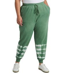 Plus Size Pull-On Tie Dye Stripe Drawstring Jogger Pants