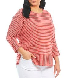 Plus Size Stripe 3/4 Sleeve Button Cuff Top