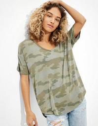 AE Soft & Sexy Camo V-Neck T-Shirt