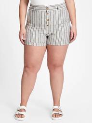 High Rise Paperbag Linen Shorts