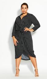 Stripe Twist Dress - black