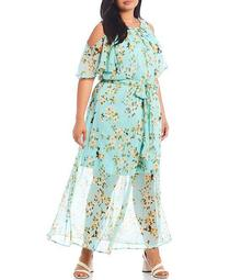 Plus Size Cold Shoulder Short Sleeve Floral Printed Maxi Dress
