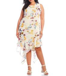 Plus Size Floral Asymmetrical Hem Chiffon Dress
