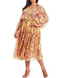 Plus Size Paisley Printed Silky Chiffon Tiered Midi Dress