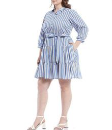 Plus Size Stripe Cotton Tiered Shirtdress