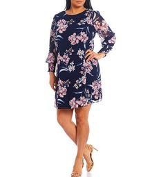 Plus Size Long Balloon Sleeve Puff Floral Chiffon A-Line Dress