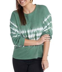 Plus Size Tie Dye Striped Long Sleeve Knit Top