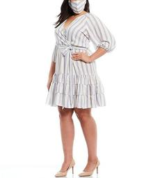 Plus Size Raglan Sleeve Striped Geneva Crepe Tiered Dress