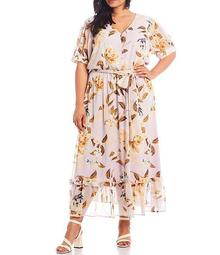 Plus Size Crinkle Short Sleeve Floral Printed Button Front Maxi Dress