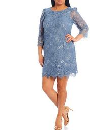 Plus Size 3/4 Sleeve Lace Puff Shoulder Sheath Dress