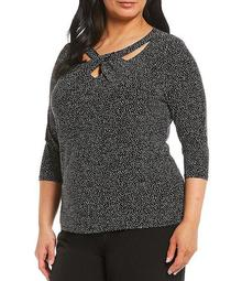 Plus Size Printed Twist Neck Knit Top