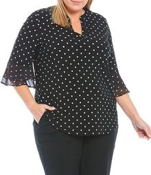 Plus Size 3/4 Flutter Sleeve Split Neck Printed Top