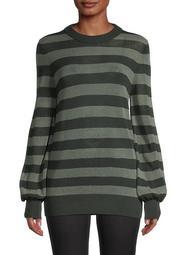 Striped Mesh-Knit Wool Sweater