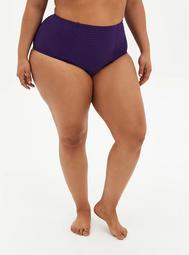 Dark Purple Shadow Stripe High Waist Ruched Swim Bottom